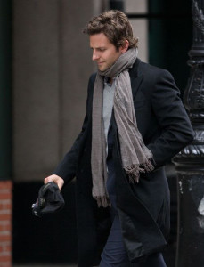 Bradley Cooper's scarf and jacket is a great relaxed look on the weekends.